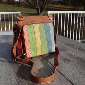 Fossil genuine leather multi colored crossbody bag